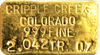 Cripple Creek Colorado Ingot. 999 Fine Gold.  2.042TR OZ