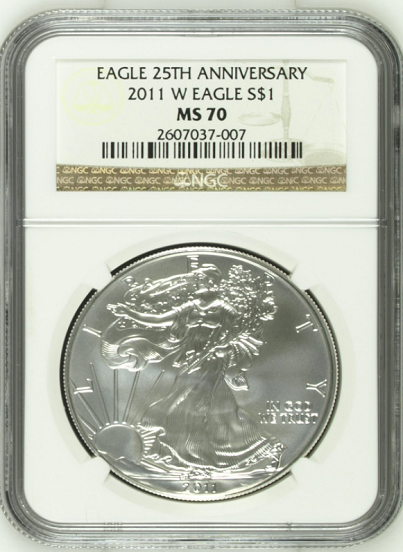 (#176) Eagle 25th Anniversary. 2011-W Eagle S$1. NGC MS70