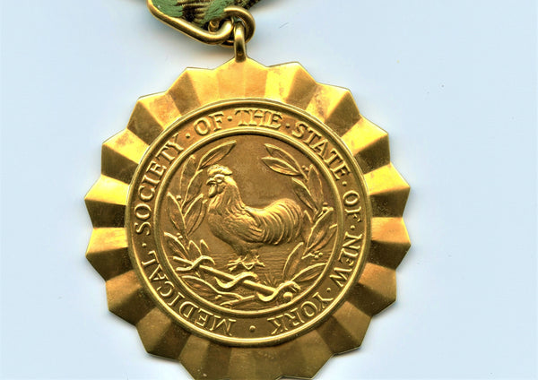 Tiffany Gold Medal. Medical Society of the State of New York With Ribbon & Box