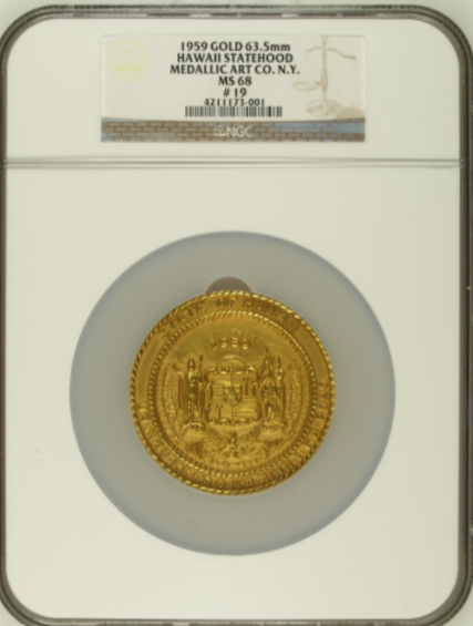 1959 Hawaii Statehood Official Set. Gold NGC MS68, Silver NGC MS66, Bronze NGC MS64