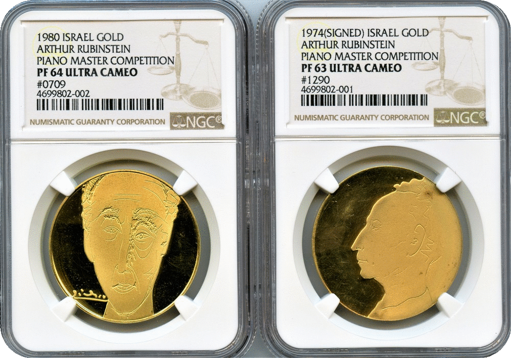 Israel  Arthur Rubinstein Piano Competition Gold Medals by Picasso 1974 NGC  PF63 Ultra Cameo & 1980 NGC PF64 Ultra Cameo