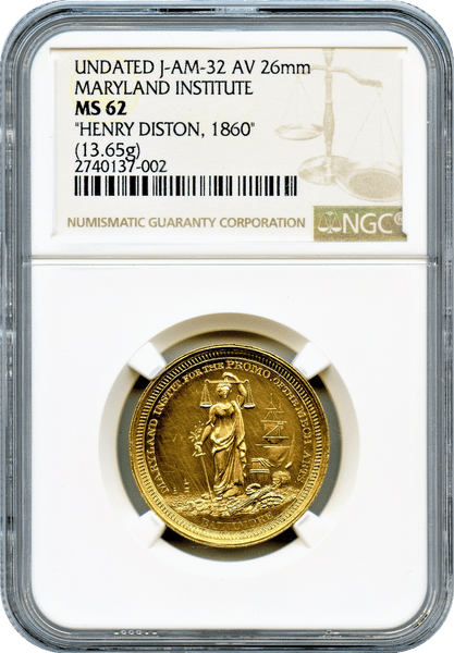 "1860 Gold Medal. Henry Disston NGC MS62 ""Struck by the U.S. Mint 1000/1000 Pure Gold"" Ultra High Relief Obverse. ""Rarity 9+  (2 to 5 Known)"