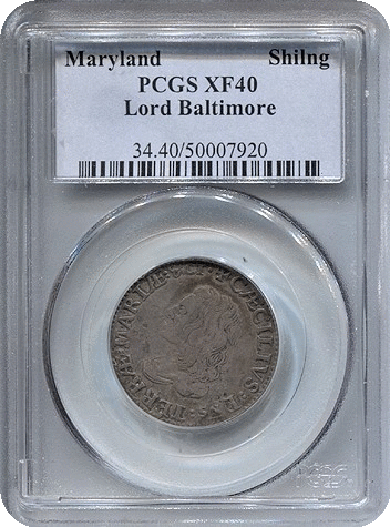 (1659) Maryland Lord Baltimore Shilling PCGS XF40