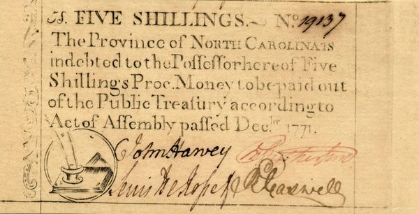 North Carolina NC-137 Dec., 1771 5 Shillings PCGS Gem New 66PPQ