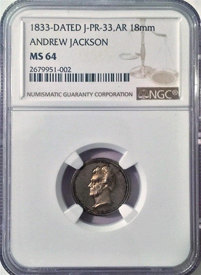 1833 Julian PR-33, SILVER 18mm ANDREW JACKSON NGC MS64