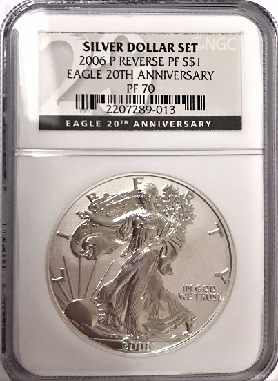 (#142) Silver Dollar Set. 2006-P Reverse PF S$1. Eagle 20th Anniversary. NGC PF70