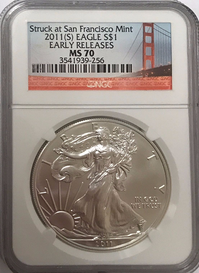 (#218) Struck at the Sanfrancisco Mint 2011-S Eagle S$1. Early Releases. NGC MS70
