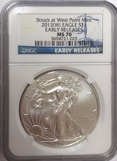 (#220) Struck at the West Point Mint. 2013-W Eagle S$1. Early Releases. NGC MS70 (Incorrect Label - Struck at the Philadelphia Mint)