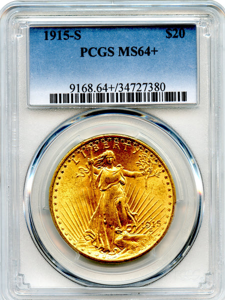 1915-S $20.00 Gold St. Gaudens PCGS MS64+