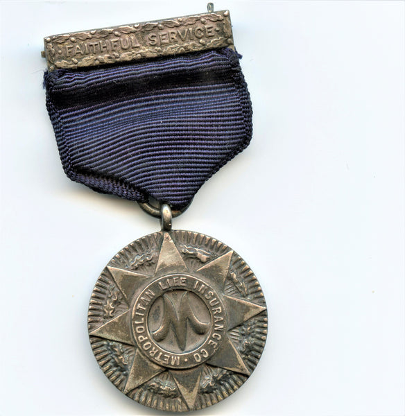 "Tiffany Silver Medal ""Faithful Service - Metropolitan Life Insurance CO"