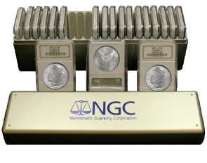 Box of 10 Morgan Silver $1.00 Mixed Dates/Mintmarks NGC MS65's