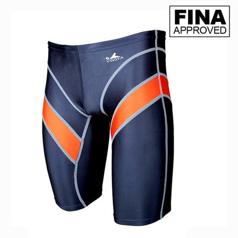 9402-4 Yingfa Sharkskin Fina Approved Jammers - Grey w/ Orange