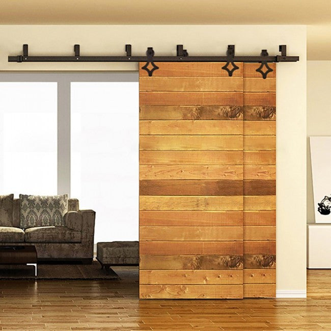 Country Style Sliding Rolling Bypass Barn Door Hardware Kit & Country Style Bypass Barn Door Hardware Kit 5\u0027 - 16\u0027 Track \u2013 Rustic ...