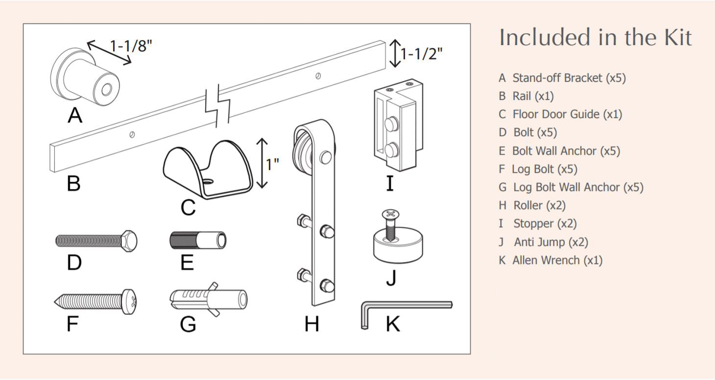 BarnCraft Barn Door Hardware Kit Components