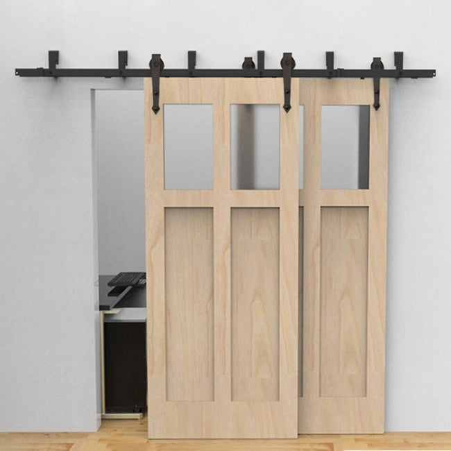 Arrow Hanger Bypass Barn Door Hardware Kit 5 16 Track Rustic