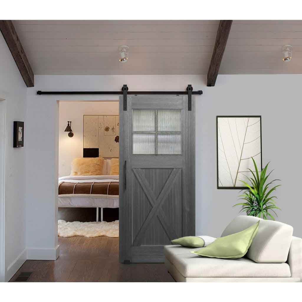 BarnCraft Craftsman X Panel - 4 Lites Mahogany Barn Door Slate Grey