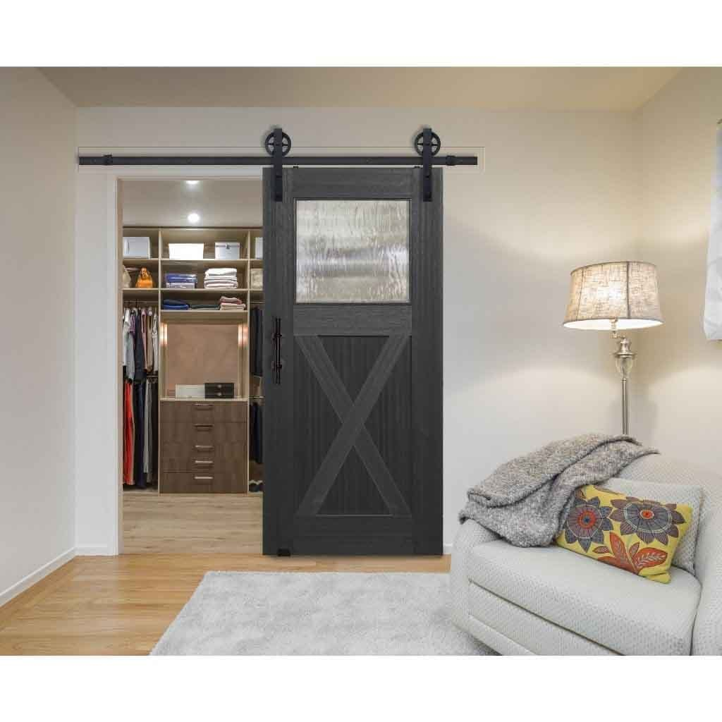 BarnCraft Craftsman X Panel Mahogany Barn Door Charcoal