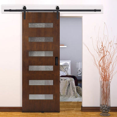 BarnCraft Beverly Barn Door with Glass Lites - Rustic Rolling Doors