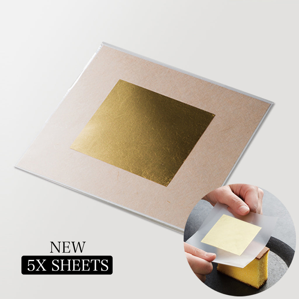 5x transfer sheets gold leaf edible for baking cake decorating