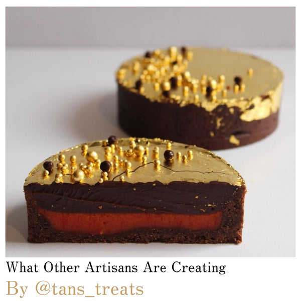 By @tans_treats. Seven Deadly Sins, Chocolate Cherry Tart - Original Artisan Gold - edible gold leaf sugar pearls and loose leaf sheets