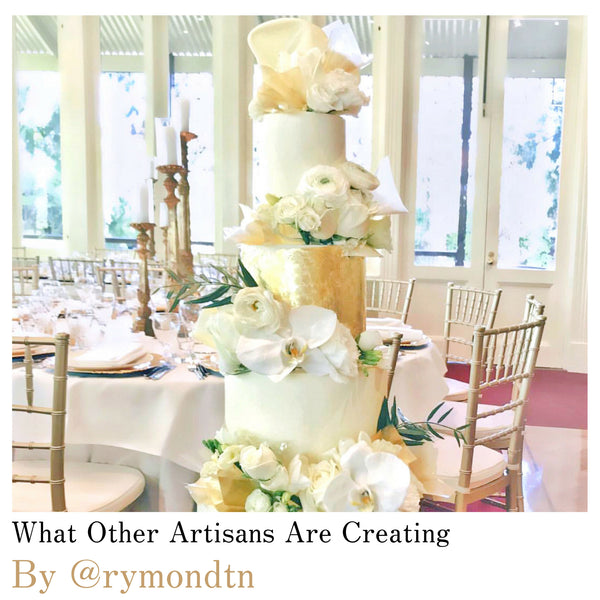 What other cake decorators are creating - by @rymondtn - wedding cake decorated in Original Artisan Gold transfer gold leaf sheets. Location: Melbourne, Australia