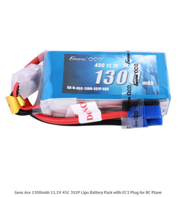 Gens Ace 1300mAh 11.1V 45C 3S1P Lipo Battery Pack with EC3 Plug