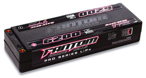 FANTOM 6200mAh, 100C-160C, 7.4v, 2-Cell, MaxV-SPEC Silicon Graphene LiPo (5mm Bullet)