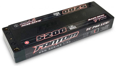 FANTOM 5200mAh, 100C-160C, 7.4v, 2-Cell, LOW PROFILE, MaxV-SPEC Silicon Graphene LiPo