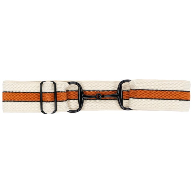 "Bourbon Stripes - 1.5"" Black Snaffle Elastic Belt"