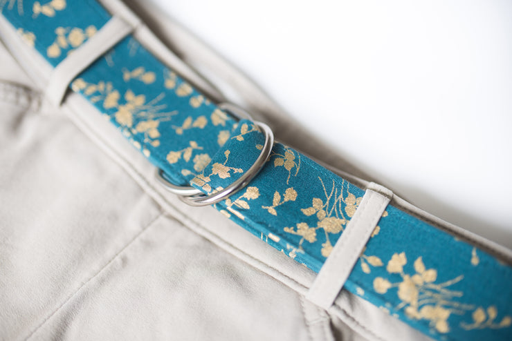 Teal & Gold Flowers D Ring Belt