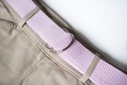 Pink Seersucker D Ring Belt
