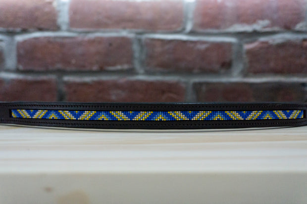 Royal and Yellow Triangles - Full Chocolate Browband