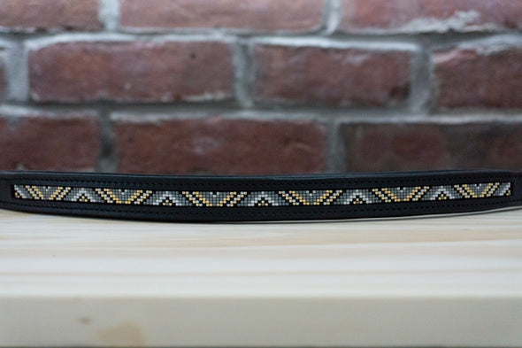 Charcoal and Gold Triangles - Full Black Browband