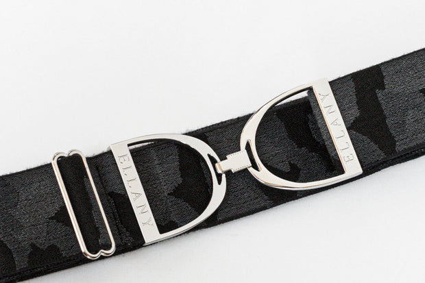 "Black Camo - 2"" Silver Stirrup Elastic Belt"