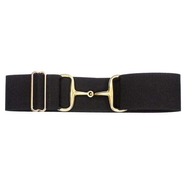 "Black - 2"" Gold Snaffle Elastic Belt"