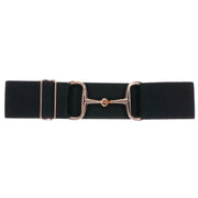 "Black - 2"" Rose Gold Snaffle Elastic Belt"