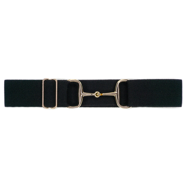 "Black - 1.5"" Gold Snaffle Elastic Belt"