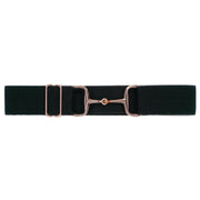 "Black - 1.5"" Rose Gold Snaffle Elastic Belt"