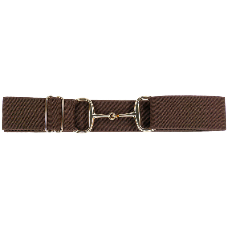 "Brown - 1.5"" Gold Snaffle Elastic Belt"