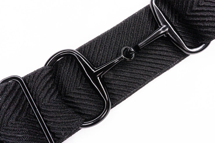 "Black Sparkly Arrows - 2"" Black Snaffle Elastic Belt"