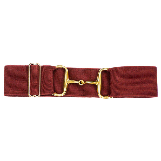 "Burgundy- 2"" Gold Snaffle Elastic Belt"