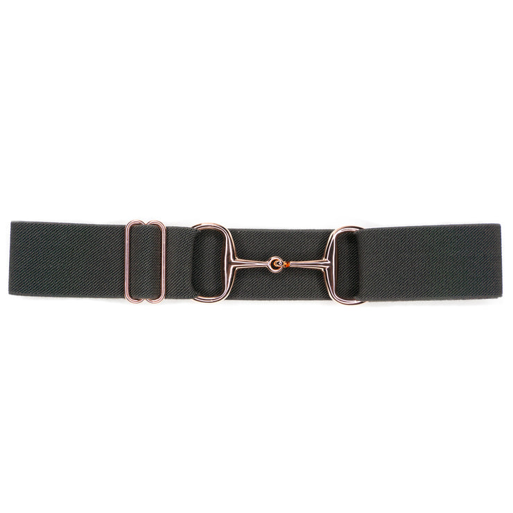 "Charcoal - 1.5"" Rose Gold Snaffle Elastic Belt"