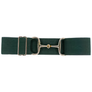 "Hunter Green - 2"" Gold Snaffle Elastic Belt"