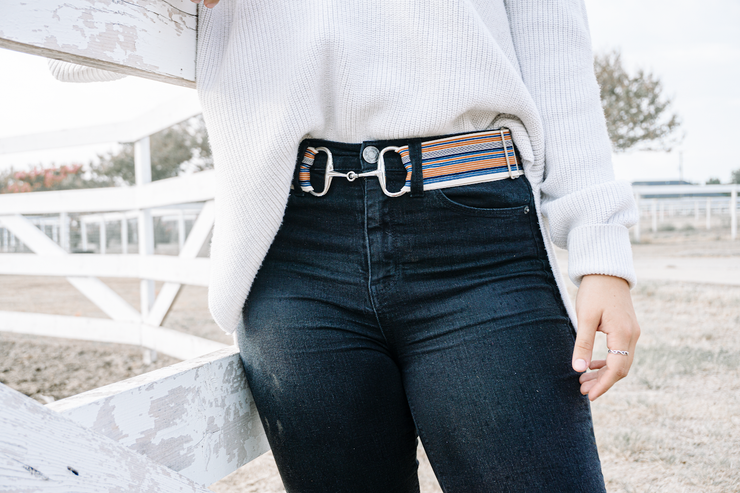 "Rust Stripes - 2"" Silver Snaffle Elastic Belt"