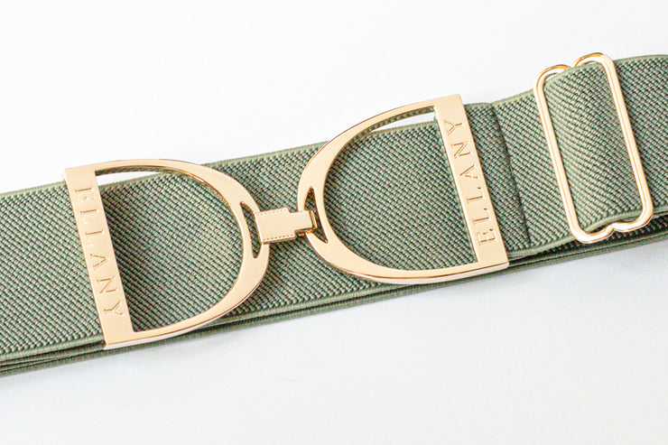 "Moss - 2"" Gold Stirrup Elastic Belt"