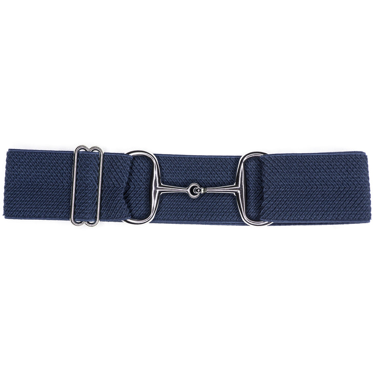 "Navy Arrows - 2"" Silver Snaffle Elastic Belt"