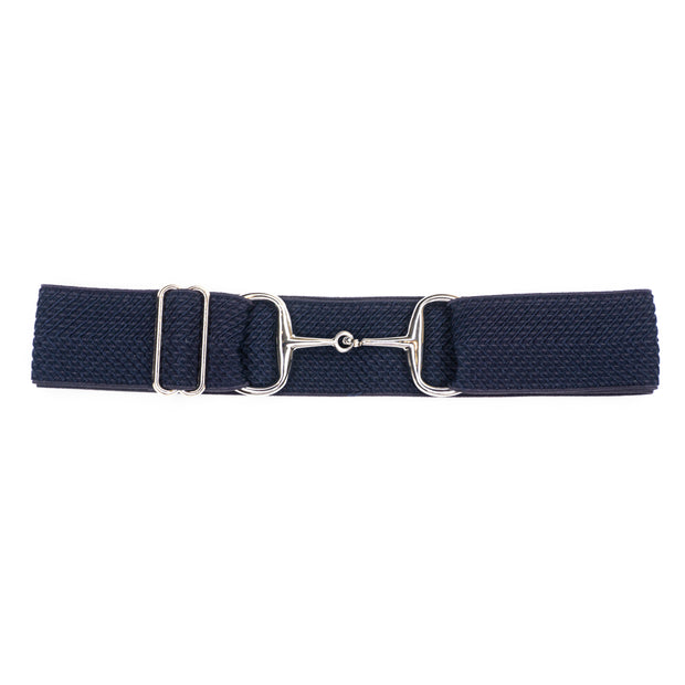 "Navy Arrows - 1.5"" Silver Snaffle Elastic Belt"