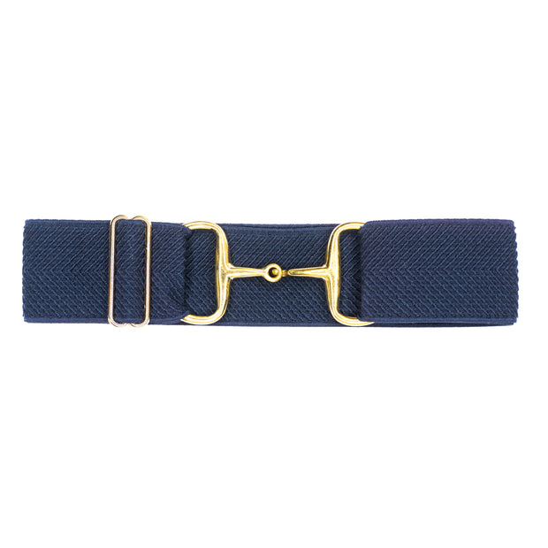 "Navy Arrows - 2"" Gold Snaffle Elastic Belt"