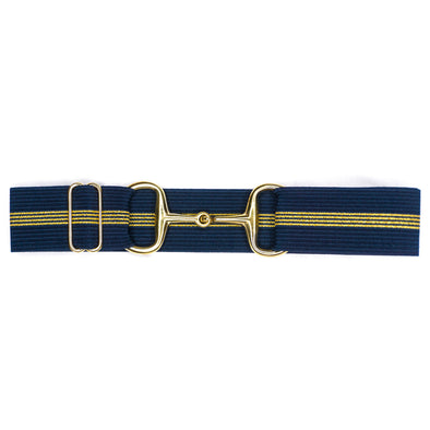 "Navy & Gold Stripes - 1.5"" Gold Snaffle"