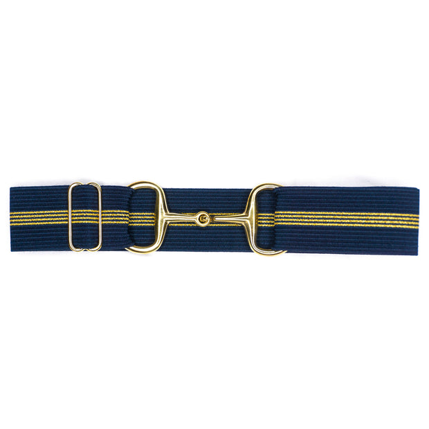 "Navy & Gold Stripes - 1.5"" Gold Snaffle Elastic Belt"